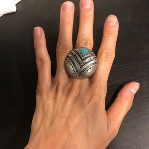 H&M round plate scarab turq stretchy ring